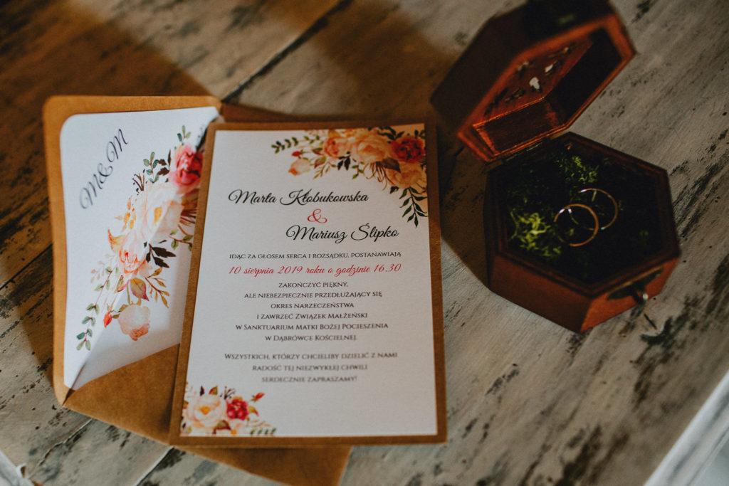 zaproszenia ślubne karton rustykalne papeteria