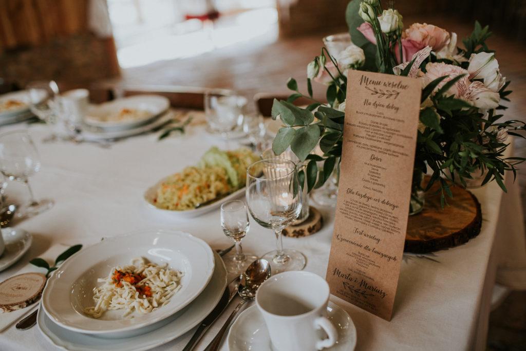 menu na stoły wesele