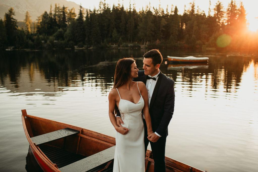 łódka plener ślubny